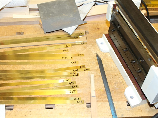 Brass strips for the reeds